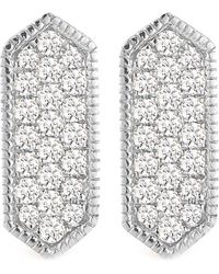 Dana Rebecca - 14k White Gold Diamond Accented Cynthia Rose Bar Earrings - 0.21 Ctw - Lyst