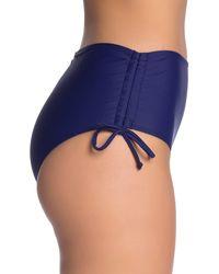 Nicole Miller High Waist Solid Bikini Bottoms - Blue