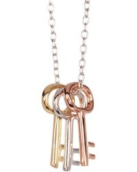 Adornia - Tricolor Three Key Necklace - Lyst