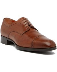 Santoni - Casey Cap Toe Leather Derby - Lyst