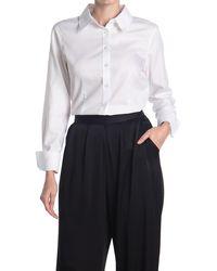 Calvin Klein Long Sleeve Button Front Wrinkle Free Blouse - White