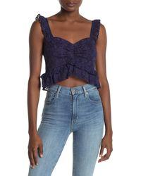 Sugarlips Cosmic Love Crochet Crop Top - Blue