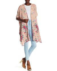 Angie - Short Sleeve Floral Print Kimono Duster - Lyst