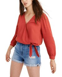 Madewell Wrap Top - Red