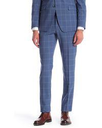 Original Penguin - Blue Plaid Flat Front Slim Fit Suit Separate Trousers - Lyst