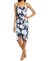 Chelsea28 Sleeveless Faux Wrap Dress - Blue