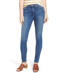 Caslon - (r) Sierra High Waist Release Hem Skinny Jeans (pacific) (regular & Petite) - Lyst