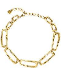 Uno De 50 Hasta El Cuello Rectangle Link Necklace - Metallic