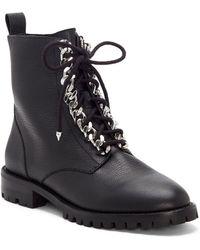 Rebecca Minkoff Janyi Chain Lace-up Combat Boot - Black