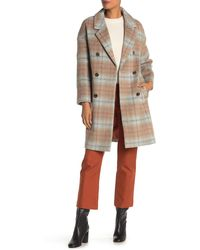 Marc New York Plaid Double Breasted Coat - Natural