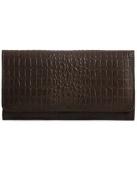 Day & Mood Bree Croc Embossed Leather Wallet - Brown