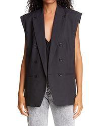 FRAME Oversized Double Breasted Linen Blend Vest - Black