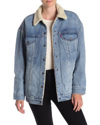 Levi's Baggy Faux Shearling Lined Denim Trucker Jacket - Blue