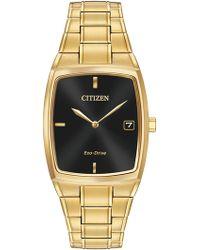 Citizen - Men's Eco-drive Gold Tonneau Bracelet Watch - Lyst