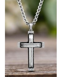 Steve Madden Oxidized Stainless Steel Cross Curb Chain Necklace In Silver At Nordstrom Rack - Metallic