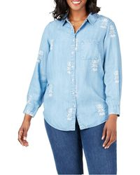 Foxcroft - Haven Embroidered Floral Lyocell Shirt - Lyst