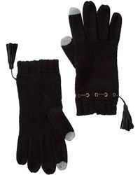 MICHAEL Michael Kors - Leather Tassel Trim Knit Gloves - Lyst