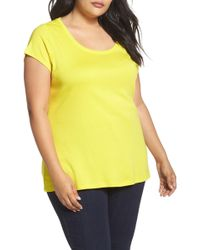 Sejour - Cap Sleeve Ribbed Tee (plus Size) - Lyst