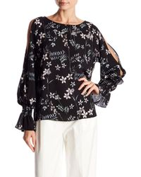 296fe7fc9f0e2 Vince Camuto - Flare Cuff Cold Shoulder Floral Blouse (regular   Petite) -  Lyst