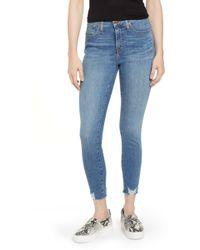 Caslon Sierra High Waist Raw Hem Skinny Jeans - Blue
