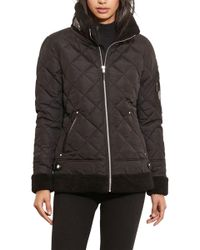 Lauren by Ralph Lauren - Faux Shearling Trim Quilted Bomber Jacket - Lyst