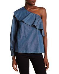 Cece by Cynthia Steffe - One Shoulder Ruffle Denim Shirt - Lyst