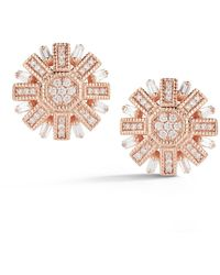 Dana Rebecca 14k Rose Gold Geometric Diamond Stud Earrings - 0.59 Ctw - Pink