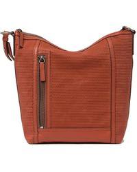 Frye Lena Leather Perforated Hobo Bag - Black