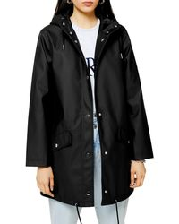 TOPSHOP Longline Raincoat - Black