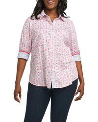 Foxcroft Ava Tile Print Shirt - Pink