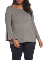 Sejour - Bell Sleeve Top (plus Size) - Lyst