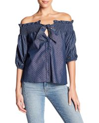 Parker - Chambray Dot Off-the-shoulder Blouse - Lyst