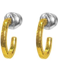 Gurhan 24k Yellow Gold Plated Sterling Silver Oval 14mm Huggie Hoop Earrings - Metallic