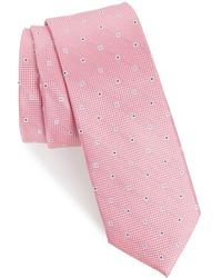 1901 Mawbly Mini Skinny Silk Tie - Pink