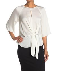 Vince Camuto Elbow Sleeve Tie Front Blouse - White