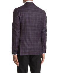 Ted Baker Konan Burgundy Plaid Two Button Notch Lapel Wool Sport Coat - Purple