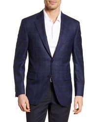 Peter Millar Classic Fit Windowpane Wool Sport Coat - Blue