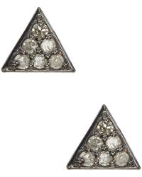 Adornia - Waverly Champagne Diamond Triangle Stud Earrings - 0.12 Ctw - Lyst