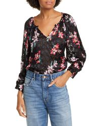 Rebecca Taylor Noha Floral Burnout Blouse - Multicolor