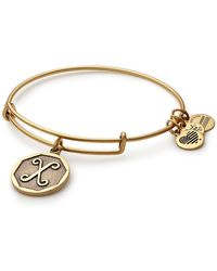ALEX AND ANI Initial 'x' Adjustable Wire Bangle - Metallic
