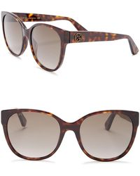 6c0d21a902ee6 Lyst - Gucci Modified Cat-eye Sunglasses in Brown