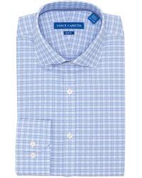 Vince Camuto - Blue Plaid Slim Fit Dress Shirt - Lyst