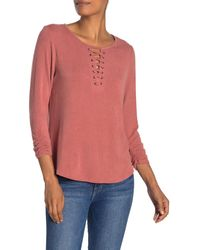 Democracy Long Sleeve Striped Lace-up Shirt - Pink