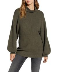 BP. Knit Funnel Neck Tunic - Green