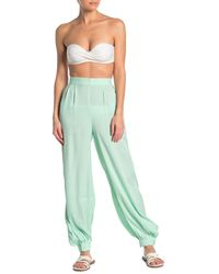 Onia Jodie High Waist Shimmer Cover-up Pants - Green