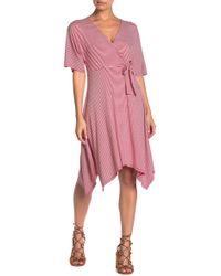 Bobeau - Stripe Asymmetrical Hem Midi Dress - Lyst