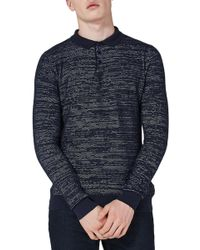 TOPMAN - Classic Fit Texture Long Sleeve Polo - Lyst