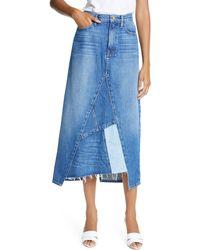FRAME Le Midi Patchwork Denim Skirt - Blue