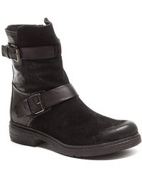 Love Moschino - Buckle Suede & Leather Biker Boot - Lyst