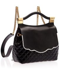 Thale Blanc Audrey Imitation Pearl Leather Backpack - Black
